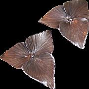 2 Vintage Sterling Silver Floral Pins - Trillium - By STUART NYE!