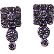 Vintage STERLING SILVER & Marcasite Pierced Earrings - Posts with Nuts!