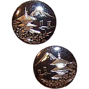 Vintage MADE IN JAPAN Sterling Silver & Niello Cufflinks - Pagoda & Mount Fuji!