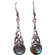 Vintage STERLING SILVER & Abalone Drop Earrings - Celtic Design!