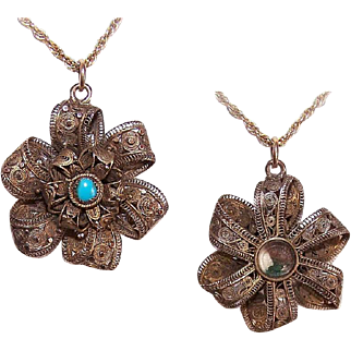 ANTIQUE VICTORIAN 14K Gold & Turquoise Filigree Pendant - Mourning Piece with Hair under Glass!