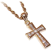 Vintage 14K Gold & .18CT TW Diamond Cross Pendant!