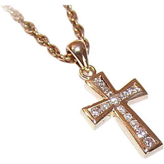 Vintage 14K Gold & .18CT TW Diamond Cross Pendant!