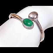 Vintage STERLING SILVER & Chrysoprase Bypass Cuff Bracelet - Bangle Bracelet!