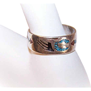 Vintage NATIVE AMERICAN Sterling Silver & Crushed Inlay Cigar Band Ring!
