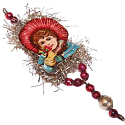VICTORIAN REVIVAL Christmas Ornament - Victorian Die Cut, Tinsel, Glass Beads - Little Girl with Flowers!