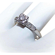 RETRO MODERN 14K Gold & .15CT Diamond Engagement Ring w/ .04CT TW Shoulder Stones!