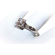 Retro Modern 14K Gold & .10CT Diamond Engagement Ring with .02CT TW Shoulder Diamonds!