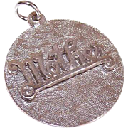 Retro Modern 1960s STERLING SILVER Disc Charm - Mother!