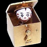 RARE! C.1930 Sloan & Co 14K Gold & Enamel Mechanical JACK IN THE BOX Charm!