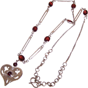 Signed STERLING SILVER & Garnet Necklace - Heart Shaped Pendant!