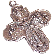 Vintage STERLING SILVER 4-Way Religious Medal/Pendant - Jesus, Mary, St. Christopher & St. Joseph!