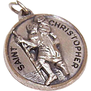 Vintage STERLING SILVER Religious Medal/Religious Charm by Creed - Saint Christopher/St Christopher!
