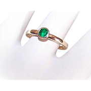 Vintage 14K Gold & Green Tourmaline Stacker Ring or Engagement Band!
