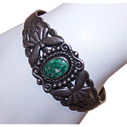 Great OLD Pawn Look! Vintage Sterling Silver & Turquoise Cuff Bracelet!