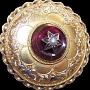Classic ANTIQUE VICTORIAN 14K Gold, Garnet & Pearl Locket Pin!