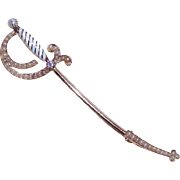 ANTIQUE VICTORIAN 14K Gold, Enamel, .10CT Diamond & Natural Pearl Sword Pin/Brooch!