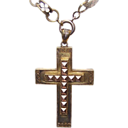 Exquisite ANTIQUE VICTORIAN 14K Gold Crusader Cross/Religious Cross - Etruscan Design!