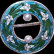 ANTIQUE EDWARDIAN Sterling Silver, Enamel & Cultured Pearl Pin - Lilies!