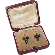 ANTIQUE VICTORIAN/Napoleon III French 18K Gold, Jade & Natural Pearl Shamrock Earrings/Dormeuses D'Or with Original Box!