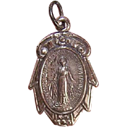 Vintage STERLING SILVER Religious Medal/Religious Charm - Holy Virgin Mary/Miraculous Medal!