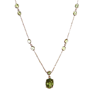 Vintage 14K Gold & Peridot Chain Necklace with Drop!