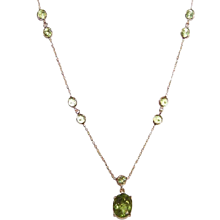 Vintage 14K Gold & Peridot Chain Necklace with Drop! - Red Tag Sale Item