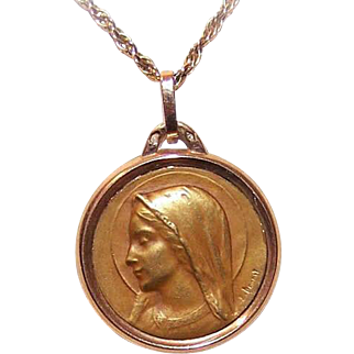 C.1930 FRENCH 18K Gold Religious Medal by Emile Dropsy - Holy Virgin Mary!