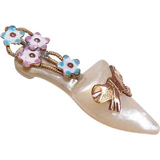 Rare!  ANTIQUE VICTORIAN Mother of Pearl & Enamel Charm - A Ladies Shoe!