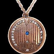 ANTIQUE EDWARDIAN Gold Filled & Rhinestone Locket Pendant!