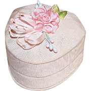 Vintage MOIRE TAFFETA Ring Box from St. Louis, MO - Silk Ribbon Rose Top!