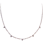 Vintage 14K Gold & .15CT TW White Sapphire Chain Necklace - Very Delicate, Very Lovely!