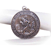 Vintage STERLING SILVER Religious Medal/Religious Pendant - Saint Christopher - St Christopher!