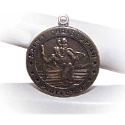 Vintage STERLING SILVER Religious Medal/Religious Pendant by Chapel - Saint Christopher - St Christopher!