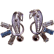 Vintage 1950s RETRO MODERN Sterling Silver Filigree Earrings with Rhinestones!
