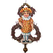 VICTORIAN REVIVAL Christmas Ornament - Antique Victorian Die Cut, Tinsel, Glass Beads - Colorful Girl!