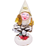 C.1960 MADE IN JAPAN Clay Face, Paper Mache & Pine Cone ELF - Plays the Cymbals!