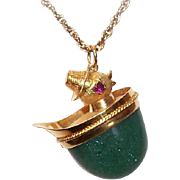 Adorable VINTAGE 14K Gold, Green Aventurine & Ruby Charm or Pendant - Chick Wearing a Hat!