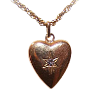 Vintage FRENCH 18K Gold & Diamond Puffy Heart Charm or Pendant!