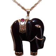 Vintage 14K Gold, Carved Black Onyx & Ruby Elephant Pendant!