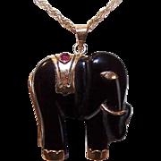 Vintage 14K Gold, Carved Black Onyx & Ruby Elephant Pendant!