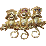 FABULOUS Mechanical 18K Gold, Diamond, Ruby & Sapphire 3 Monkeys Pin - See No Evil, Hear No Evil, Speak No Evil!
