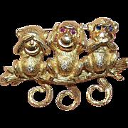 FABULOUS Mechanical 18K Gold, Diamond, Ruby & Sapphire 3 Monkeys Pin - See No Evil, Hear No Evil, Speak No Evil!