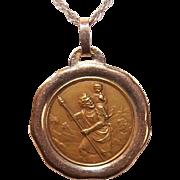 C.1930 FRENCH 18K Gold Religious Medal - Saint Christopher * St Christopher!