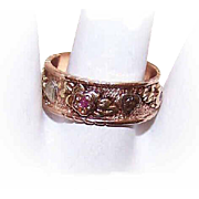 Retro 14K Tri-Gold & Ruby WEDDING BAND/Cigar Band Ring - Hearts & Flowers - Sz 8-1/2!