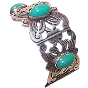 Retro Modern 1950s MEXICO SILVER Link Bracelet with Large Oval Green Cabs!