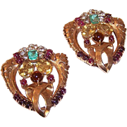 Pair RETRO MODERN 14K Gold, 21.55CT TW Diamond, Emerald & Ruby Necklace Clips - Dress Clips!