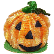 Vintage MADE IN JAPAN Halloween Chenille Ornament - Mr. Pumpkin Face!
