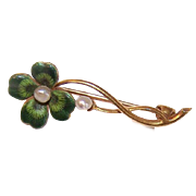 ANTIQUE VICTORIAN 14K Gold, Enamel & Natural Pearl 4 Leaf Clover Pin by Krementz!