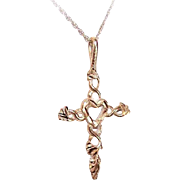 Vintage 14K Gold Cross Pendant (Heart Center) on a 10K Gold Fine Link Chain